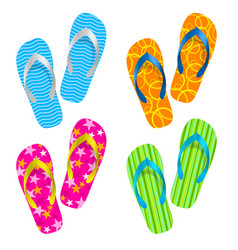Flip flop set on white background vector