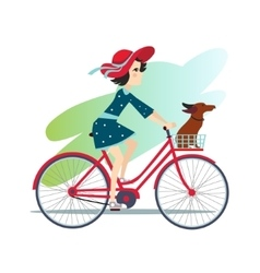 Girl is Riding Bike on Spring Field vector image