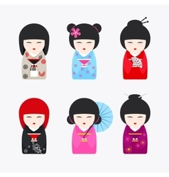 Japanese kokeshi dolls icons vector
