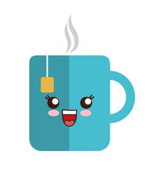 Kawaii coffee mug icon vector