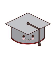kawaii graduation cap icon vector image
