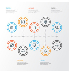 Music outline icons set collection of vector