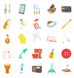 Musical hobby icons set cartoon style vector