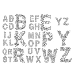 Outline capital letters with foliage ornament vector