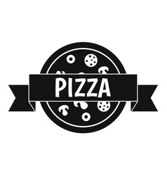 Pizza label with ribbon icon simple style vector