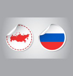 Russia sticker with flag and map russian vector