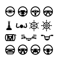 Set icons of steering wheel marine steering vector