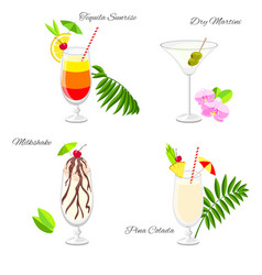 Set of beach party cocktails vector
