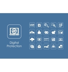 Set of digital protection simple icons vector image