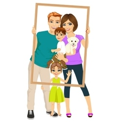 Smiling family looking through an empty frame vector