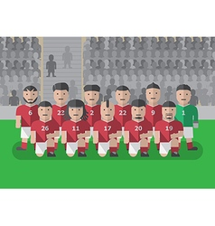 Soccer team before match flat graphic knee on vector