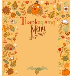 Thanksgiving menu card vector image