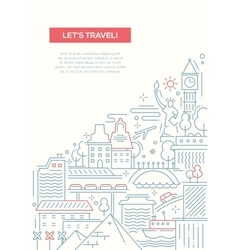 Travel composition - line flat design banner vector