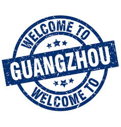 Welcome to guangzhou blue stamp vector