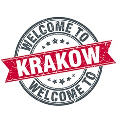 Welcome to krakow red round vintage stamp vector