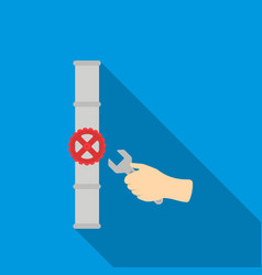 wrench and valve icon in flat style isolated on vector image