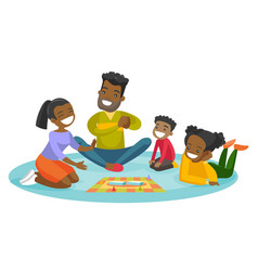 young african-american family playing board game vector image