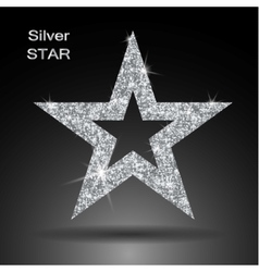Silver star banner glitter Template vector image