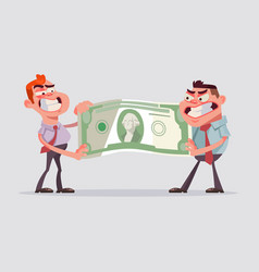 Two men office workers character divide money vector
