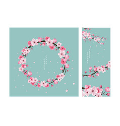 herry blossom collection greeting cards vector image