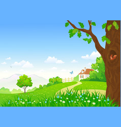 rural summer scene vector image