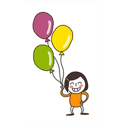 Close-up of girl holding balloon vector