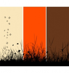 grass silhouette background vector image