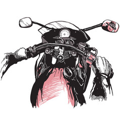 Motorcycle handlebars an hand drawn freehand vector