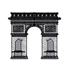 Color crayon stripe cartoon monument arch antique vector