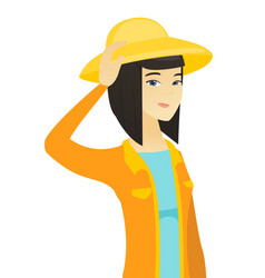 Young asian farmer scratching her head vector