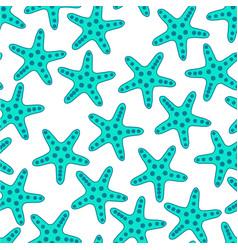 Turquoise starfish seamless pattern vector