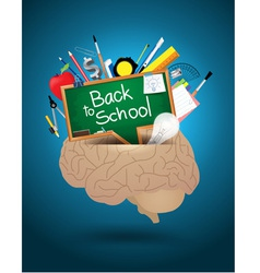 Creative brain mixed school supplies vector