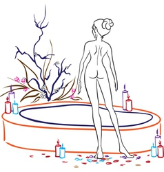 Naked woman in spa salon vector