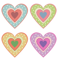 Set of cute hearts vector