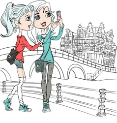 Hipster girls make selfie in amsterdam vector