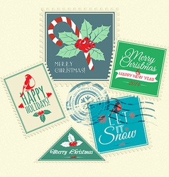 Set of Christmas postal stamps vector image
