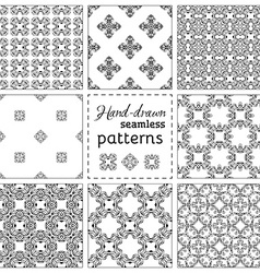 Set of nine seamless hand-drawn patterns vector image