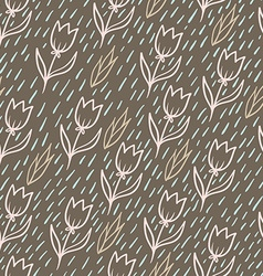 Seamless pattern with tulips backdrop endless vector