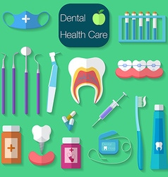 Dental care flat design with dental floss teeth vector