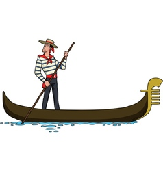 Gondolier on a gondola vector