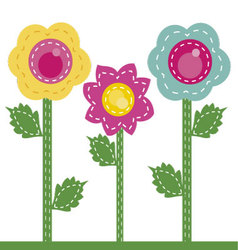 Colored flowers sewn together vector