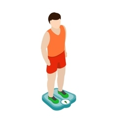 Man on the scales icon isometric 3d style vector