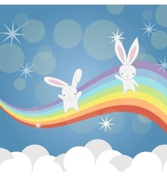 Two little bunny having fun vector