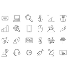 Business communication black icons set vector