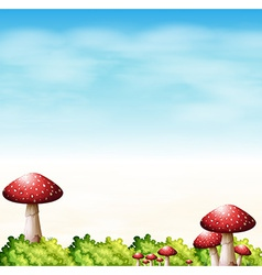 A garden with red mushrooms vector