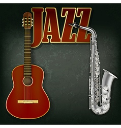 Acoustic guitar and saxophone on abstract grunge vector