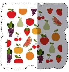 Background sticker with fruits in irregular shape vector