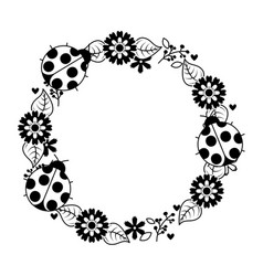 Beautiful floral wreath with spring flowers leaves vector