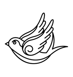 bird drawing tattoo style isolated icon vector image vector image