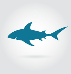 blue shark silhouette with sharp fins vector image